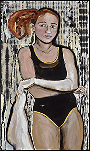 Kim Goldfarb Athlete 54x32 Mixed Media on Board