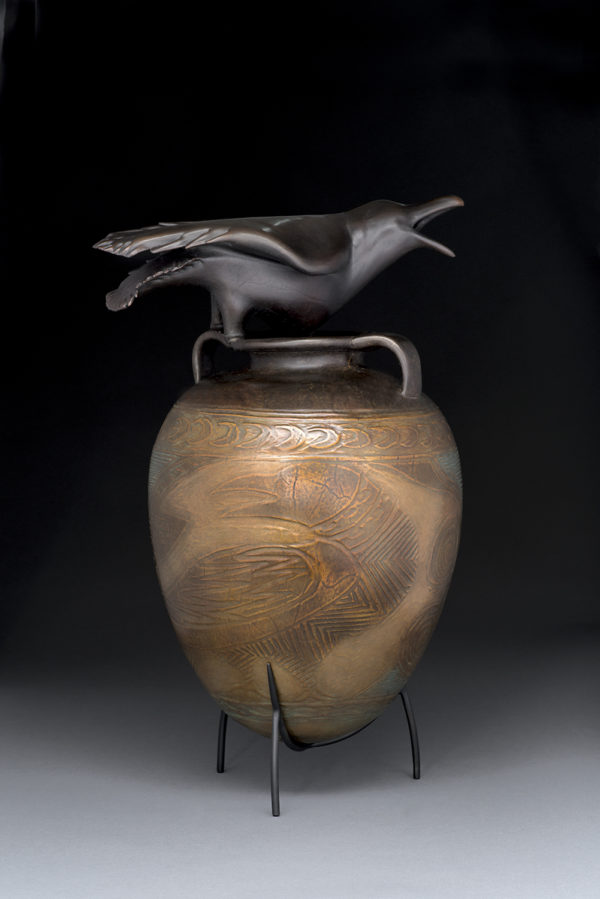 """""""Raven Jar with Incised Drawing"""" 10 of 12"""