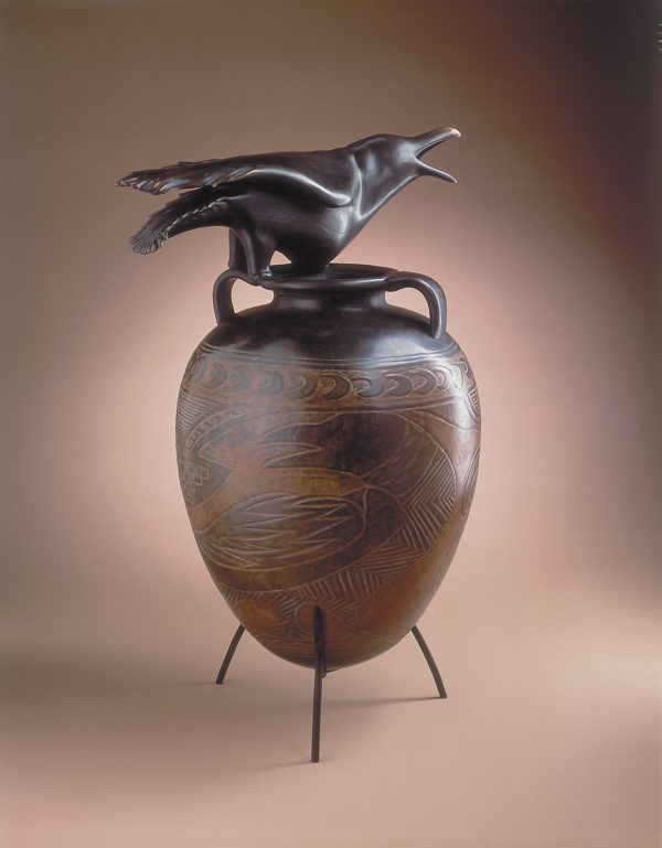 """Raven Jar with Incised Drawing"""" 1 of 12"""